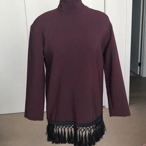 Zara Burgundy Fringed Tunic